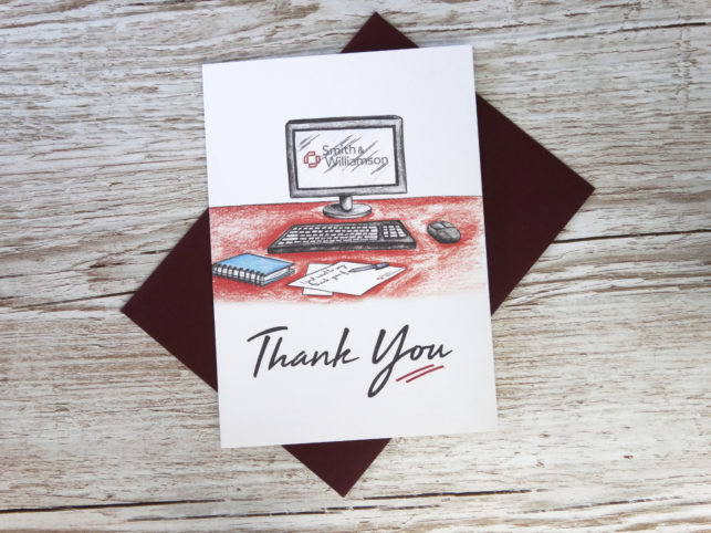 Custom corporate greeting thank you card for businesses with bespoke hand drawn computer screen and logo in bulk