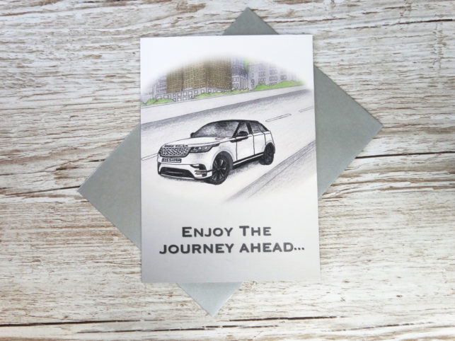 Thank you for buying new car corporate greeting card of hand drawn JLR car and custom number plate bespoke for business