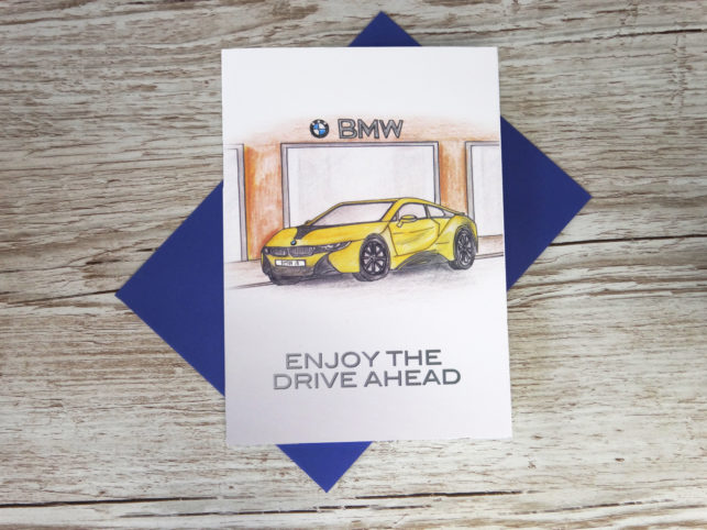 Thank you for buying new car corporate greeting card of hand drawn BMW car and custom number plate bespoke for business