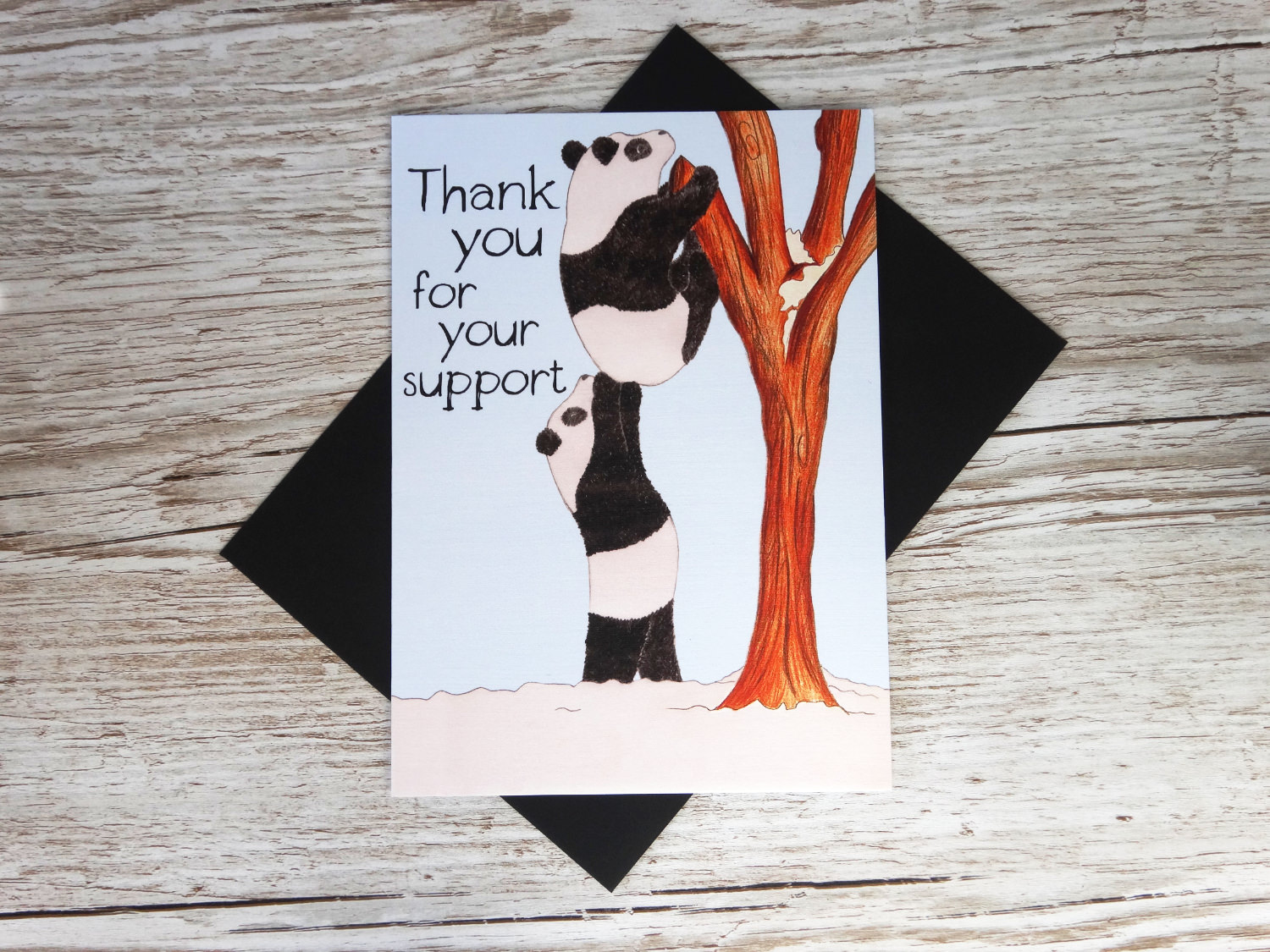 Custom corporate greeting thank you card for businesses with bespoke hand polar bears helping each up and logo in bulk