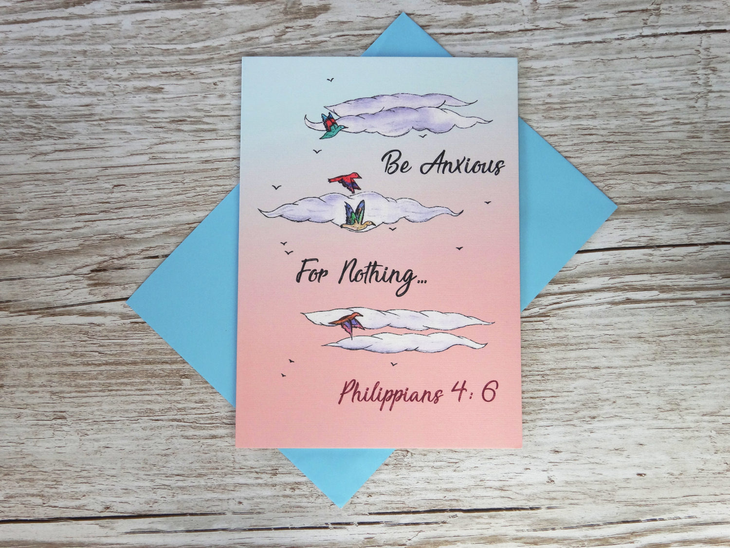 Christian thinking of you card with bespoke hand drawn birds and bible verse for Church in bulk