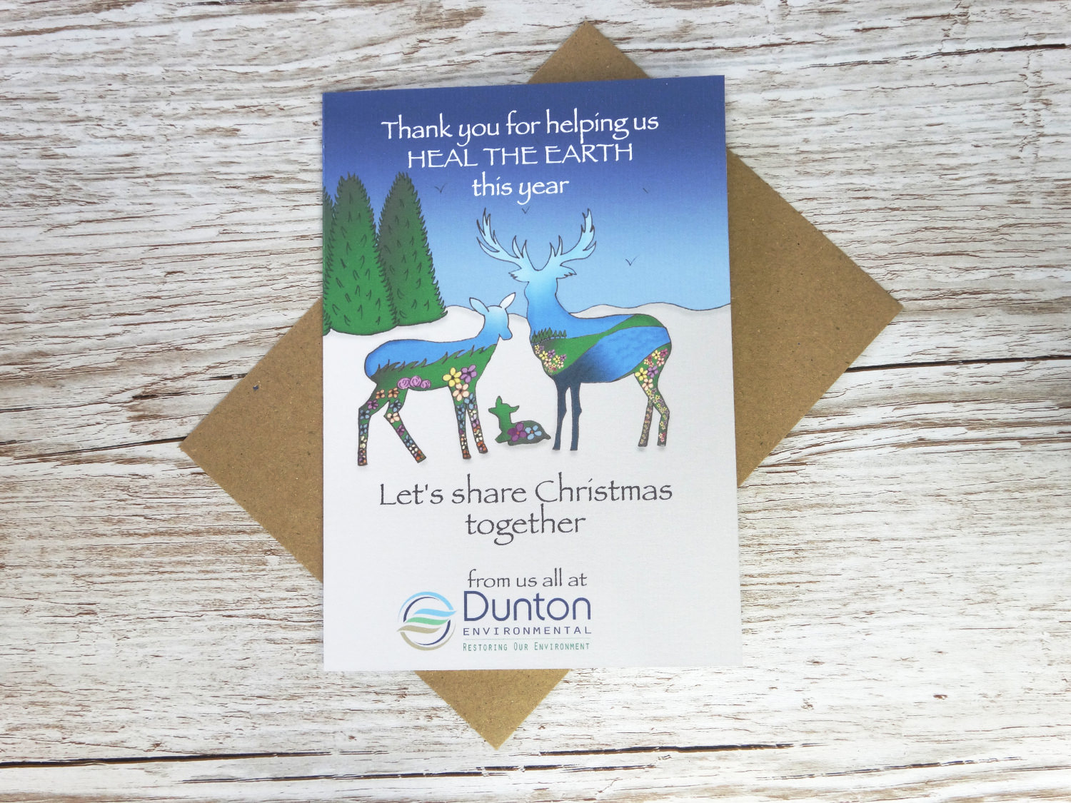 Custom corporate christmas card with bespoke hand drawn wildlife and flowers for environmental company in bulk