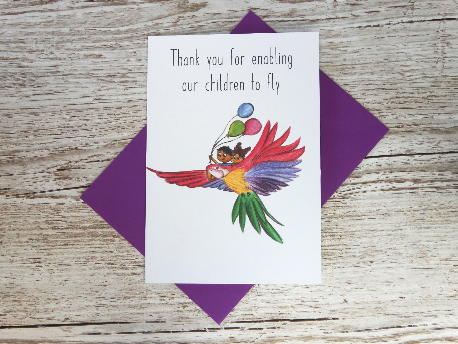 Custom corporate thank you card for businesses with bespoke hand drawn bird and two children with balloons bulk