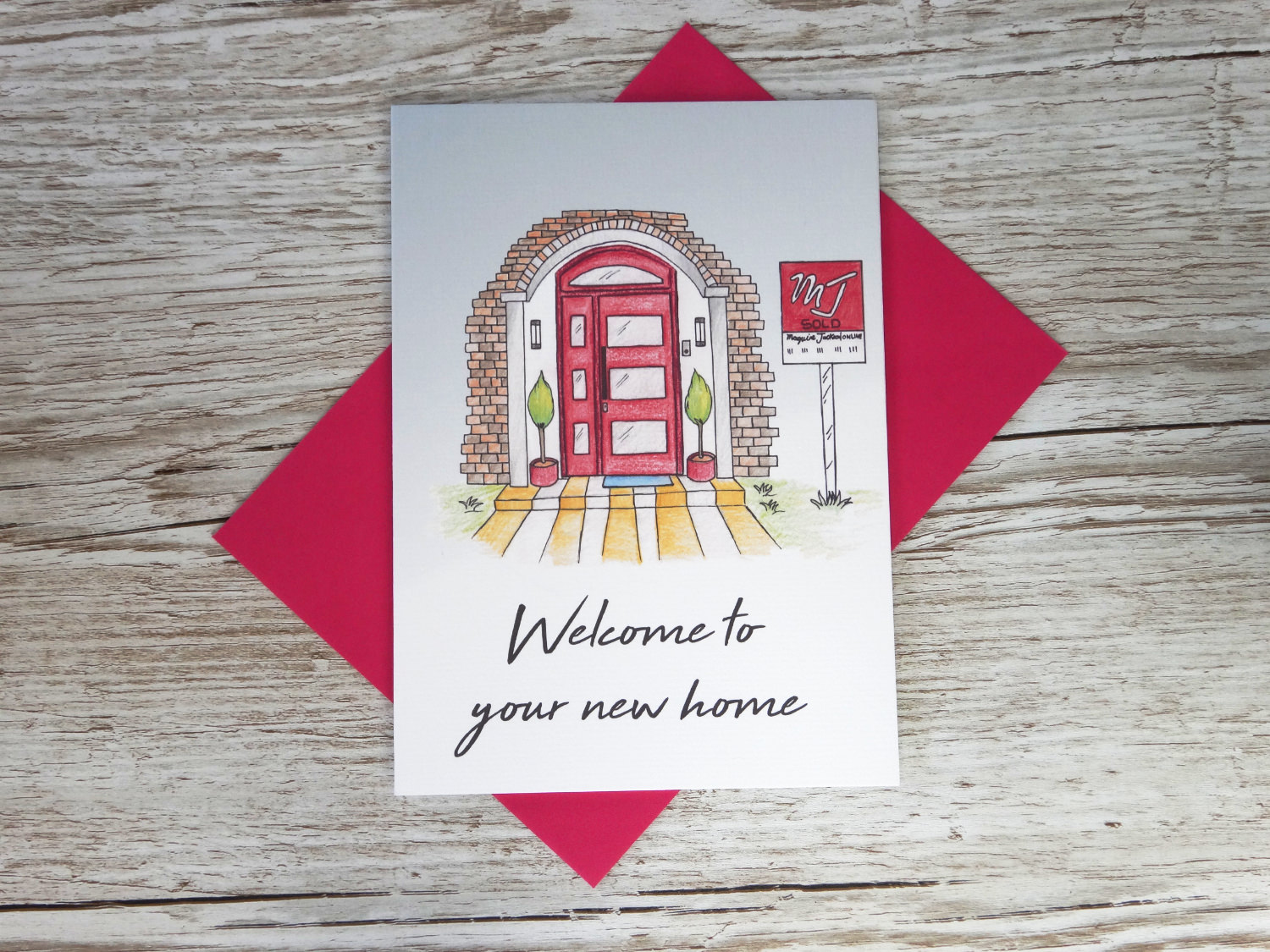 Welcome to your new home corporate greeting card of hand drawn red house and a custom for sale sign bespoke for business
