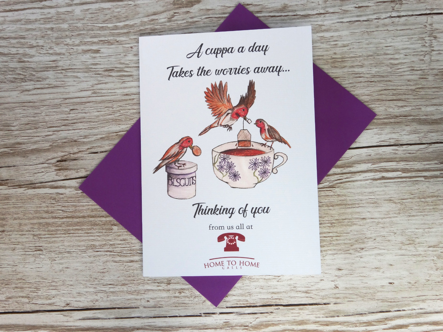 Custom corporate thinking of you greeting card for businesses with bespoke hand drawn cups of tea in bulk