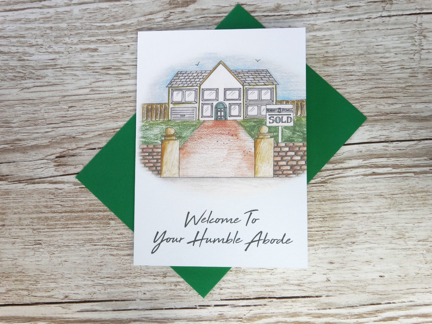 Welcome to your new home corporate greeting card of hand drawn green house and custom logo sale sign bespoke for business