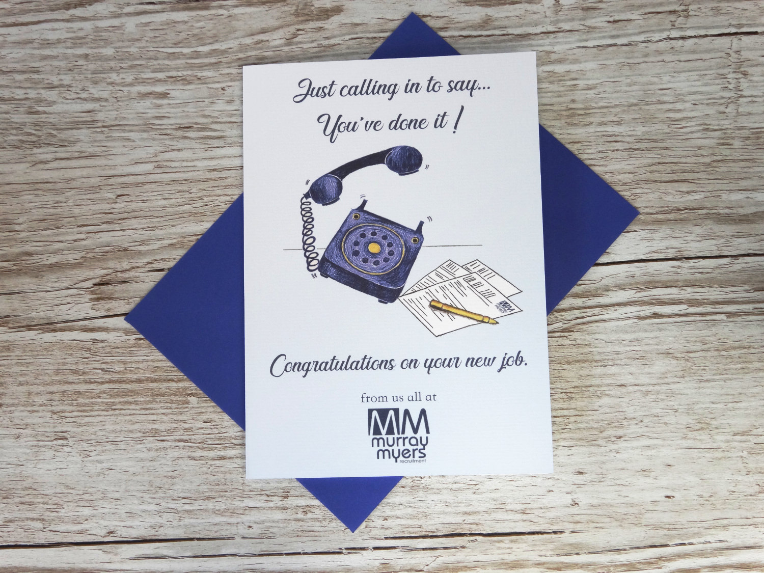 Custom corporate congratulations on your new job card for businesses with bespoke hand drawn phone and paper and logo in bulk