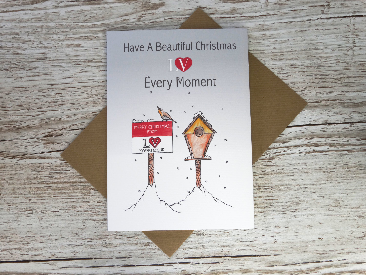Custom corporate christmas card with bespoke hand drawn with logo for estate agents in bulk