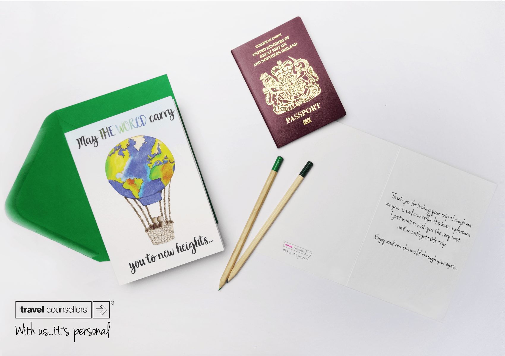 Custom corporate enjoy your travels agency greeting card for businesses with bespoke hand drawn world hot air balloon and logo in bulk
