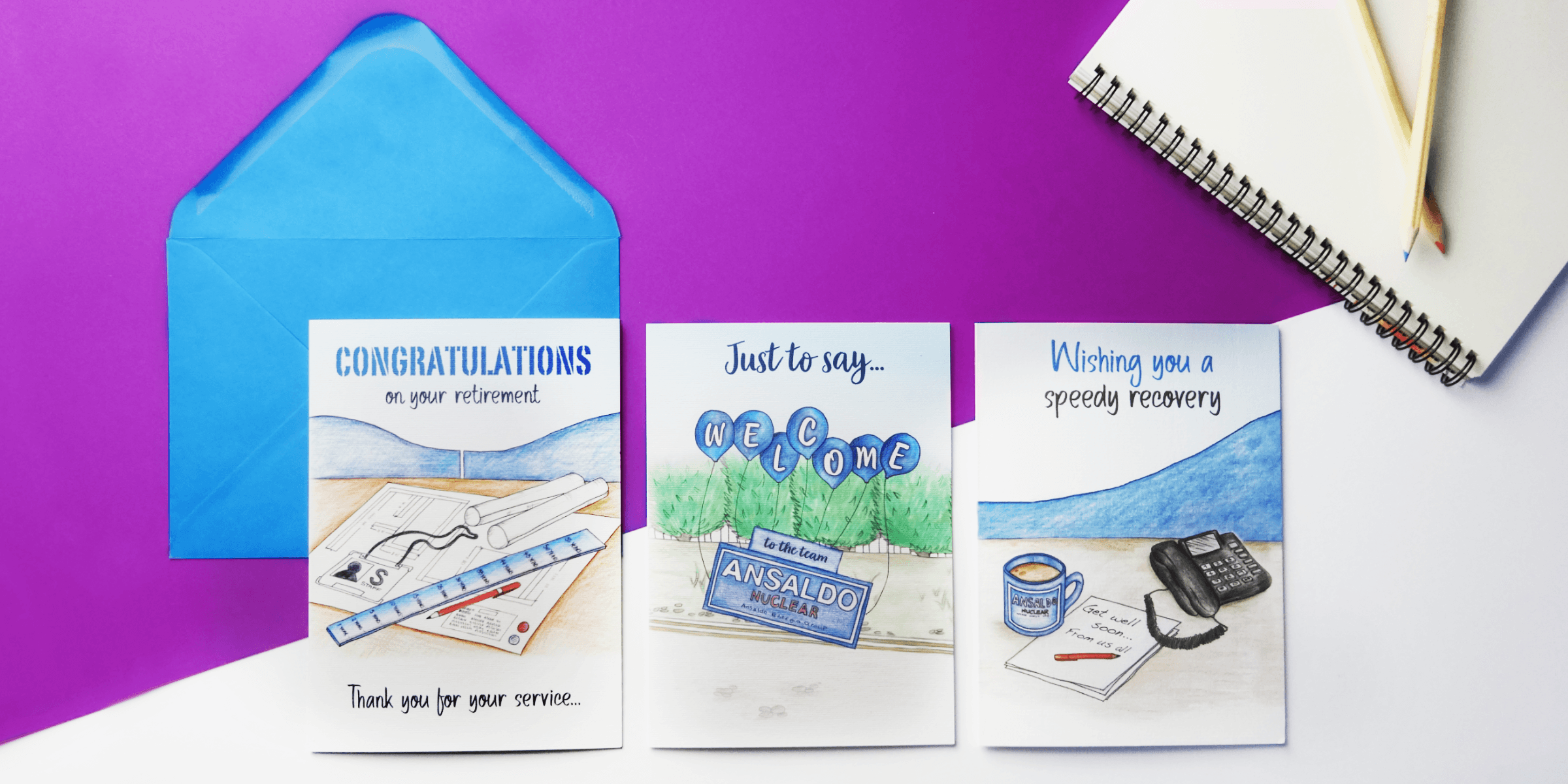 HR Thank you for your service welcome get well soon personalised Entering into a new start Corporate greeting card of hand drawn house bespoke for business company cards